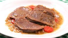 Estofado de Lengua de Ternera o Res Dominican Food, Canapes, Pot Roast, Steak, Pizza, Menu, Breakfast, Ethnic Recipes, Pollo Guisado