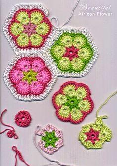 Grannys hexagonales con ganchillo flor africana