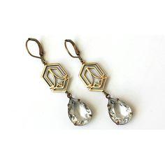 Swarovski Clear Teardrop Earrings Crystal Antique Brass Drop Earrings... ($21) ❤ liked on Polyvore featuring jewelry and earrings