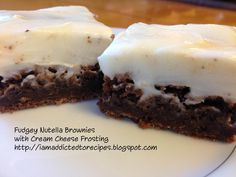Fudgy Nutella Brownies with Cream Cheese Icing