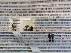 Completed in 2017 in Tianjin, China. Images by Ossip van Duivenbode. MVRDV in collaboration with local architects TUPDI has completed the Tianjin Binhai Library, a cultural centre featuring a luminous. Tianjin, Bibliotheque Design, Library Pictures, Beautiful Library, Local Architects, Library Design, World's Most Beautiful, Dead Gorgeous, Ancient Architecture