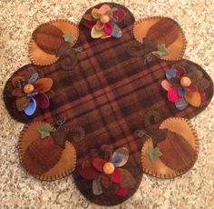 Primitive Wool Penny rugs Pumpkins with Multi-Colored Mums Candle Mat/Doily on Etsy, $65.00