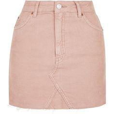Topshop Moto Cord Mini High Waist Skirt ($40) ❤ liked on Polyvore featuring skirts, mini skirts, topshop skirts, western skirts, pocket skirt, pink skirt and high-waisted skirts