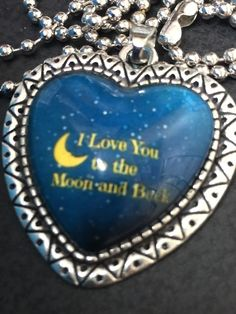 "BIN Heart Love You to the Moon Charm Tibetan Silver with 18"" Necklace HM6"