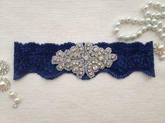 wedding garter , navy blue bridal garter, navy blue lace garter, crystal rhinestone