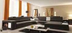 Gris canapé salon canapé en cuir moderne canapé Foshan A2006