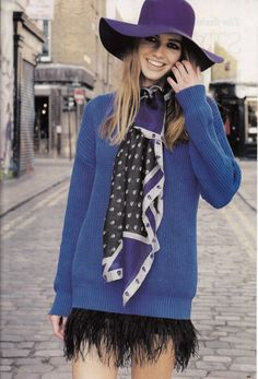 More magazine featured the #AmericanApparel Fisherman Pullover in Royal Blue and the Floppy hat in Purple, UK, January 2013.  #More #magazine #floppyhat #media