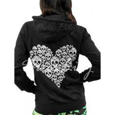 Chic Hooded Long Sleeve Skull Pattern Women's Hoodie