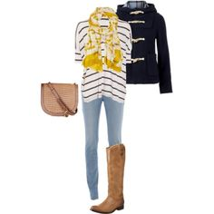 Navy stripes & Boots - Outfit of the week