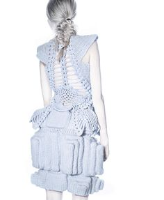 Love this modern take on 18th c underpinnings. knit & crocheted dress - Pool Position collection
