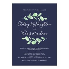 Navy and Green Botanical Leaves Wedding Invitation