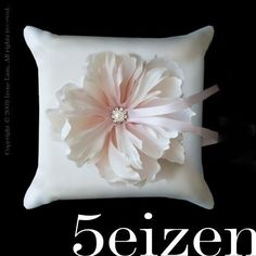 Isabella Series  Blushing Pink Bloom and Ivory Pillow by 5eizen, $60.00