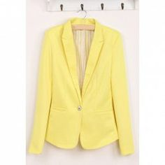 Comes in plenty of colors! $12.40 Slimming Single Breasted Design Long Sleeves Multicolor Cotton Blend Blazer For Women.