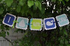 Birthday Banner - I Am One - Nautical, Whale, Sailboat. $18.00, via Etsy.