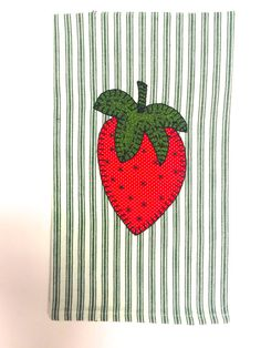 Applique Tea Towel, Fruit Applique, Strawberry Applique, Strawberry Applique Tea Towel, Applique Kitchen Towel, Summer Applique Tea Towel