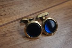 Vintage Cufflinks Cuff Links Vintage Hickok Cufflinks Blue Glass 1940s Elegant Groom R-041 by VintageEstate86 on Etsy