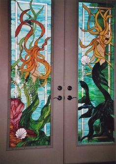 Stained Glass Mermaid Doors ♥ could use to cover florescent lights in downstairs family room Stained Glass Supplies, Stained Glass Door, Stained Glass Projects, Stained Glass Patterns, Real Mermaids, Mermaids And Mermen, Pretty Mermaids, Fantasy Mermaids, Mermaid Art