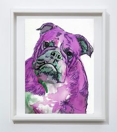 English Bulldog art print watercolor Purple dog painting ink wall art home decor bull dog gift idea animal art, picture, British bulldog https://www.etsy.com/listing/218928400/english-bulldog-art-print-watercolor?utm_campaign=crowdfire&utm_content=crowdfire&utm_medium=social&utm_source=pinterest