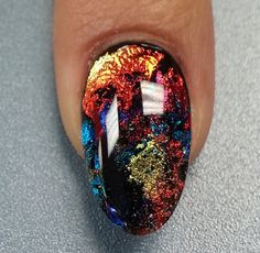 Multicoloured foil nails