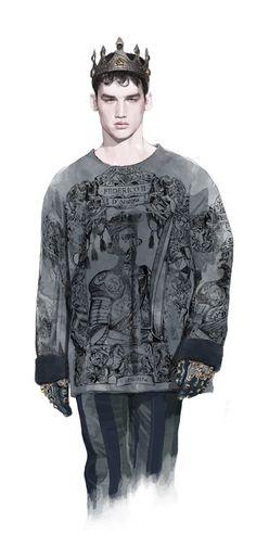 Parte de la colección de Dolce & Gabbana Menswear Fall Winter 2014ilustrada por el artista tailandésHans.              — Hans