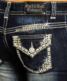 Rock & Roll Womens Cowgirl Low Rise Boot Cut Jeans with Railroad Stitch