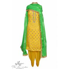 Dazzling yellow unstitched suit adorn in ornate embroidery-Mohan's the chic window Patiala Salwar Suits, Designer Punjabi Suits, Indian Party Wear, Party Suits, Indian Ethnic Wear, The Chic, Indian Outfits, Window, Women's Fashion