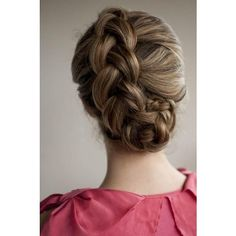 Dutch braid updo hairstyles for medium long hair tutorial Prom wedding... ❤ liked on Polyvore featuring hair