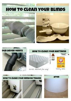 """Cleaning tips and tricks for areas and items in your home.""  Need to read this! my blinds AND windows look crappy."