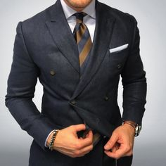 Classic brown and navy striped tie.
