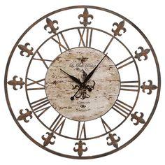 Found it at Wayfair - Fleur De Lis Wall Clock in Brown