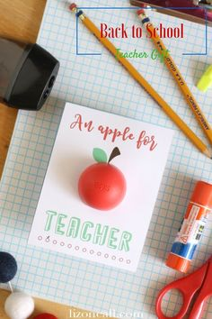 Give teachers a little something fun for the first day of school with this free printable back to school EOS teacher gift idea. An apple for teacher, teacher appreciation gift.