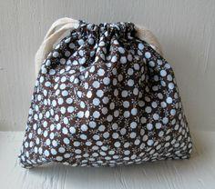 Brown Dandelion Drawstring Bag Reusable Gift Bag by DivineLuluCreations, $7.00