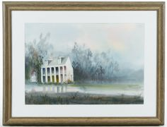 Lot 268: Nestor Fruge (American, 1914-2011) Watercolor on Paper; Undated, signed lower left, depicting a pillared Southern mansion along a river