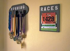 DIY: Medal & Bib Holder (great idea when you don't know what to do with all your bibs/medals)