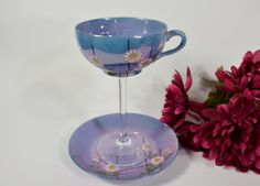 Vintage tea cup wine glass / wedding wine glass / by NEWaged, $24.00