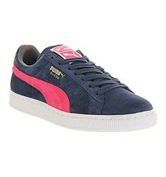 Puma SUEDE CLASSIC DARK DENIM PINK EXCLUSIVE Shoes - Puma Trainers - Office Shoes