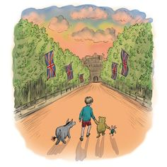 Illustrations for the new story to mark the Queen's – and Pooh's – 90th birthday are by Mark Burgess in the style of Winnie the Pooh illustrator EH Shepard.