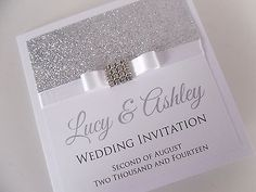 Handmade Personalised Luxury Wedding Invitation Sample Glitter Sparkly Bling