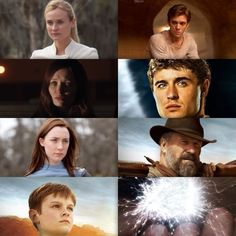 Characters: (from the top, left to right) Seeker, Ian O'Shea, Wanda (second host), Jared, Melanie Stryder (host), Uncle Jeb, Jamie Stryder, and Wanderer (Wanda-Soul)
