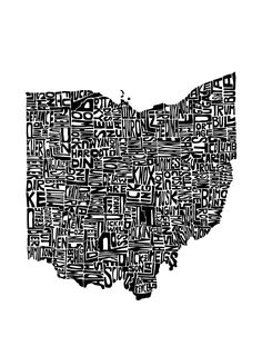 Ohio Art Print - This piece features the state formed from each county's name written in the proper place and shape of that county. - Fine art print - Printed on Ultra Premium Lustre Paper - Shown in