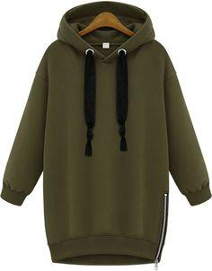 Sweat-shirts zippé décontracté à capuche -vert