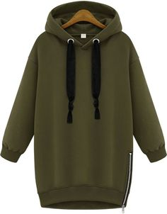 Green Hooded Long Sleeve Zipper Loose Sweatshirt - Sheinside.com