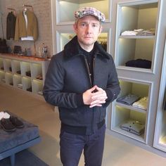 privatewhitevc: A real treat to have the fabulously talented and equally charming actor Martin Freeman in our Mayfair store earlier today. We hope our Flight Jacket serves you well #privatewhitevc #thehobbit #MadeInManchester #Sherlock #menswear