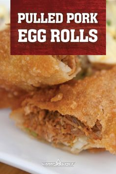 Pulled Pork Egg Rolls Needing to use your left over pulled pork? We got you covered. Loaded with BBQ pulled pork and cabbage, then fried to perfection. These egg rolls are unique, delicious and easy! Wonton Recipes, Egg Roll Recipes, Appetizer Recipes, Snack Recipes, Snacks, Bbq Egg, Pellet Grill Recipes, Smoker Recipes, Bbq Pulled Pork Recipe