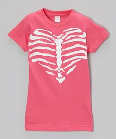 Love this Hot Pink Heart of Bones Tee - Toddler & Girls by Micro Me on #zulily! #zulilyfinds