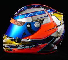 Trenton Estep's Chromed Arai SK-6 with red trims. — Smart Race Paint -Helmet Painting at it's best-