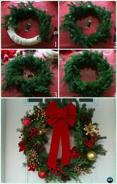 DIY Homemade Evergreen Wreath Instructions- Christmas Wreath Craft Ideas Holiday Decoration DIY Christmas Wreath Craft Ideas & Instructions: Holiday Wreath Collection from classical to fairy, sparkly to sweet and more! Christmas Wreath Image, Christmas Reef, Christmas Wreaths To Make, Noel Christmas, Holiday Wreaths, Rustic Christmas, Holiday Crafts, Christmas Ornaments, Gold Ornaments