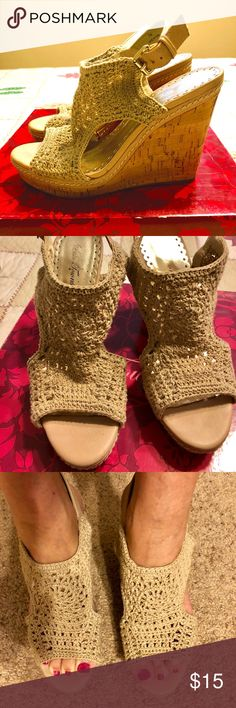 Lulu Townsend Macrame' and Cork Wedge Shoes Lulu Townsend Macrame' and Cork Wedge Shoes.  Cream/Tan.  Buckle ankle closure.  Pre-loved in very good condition.  No nicks, stains, or scuffs - just dirty soles.  Very comfortable and very Boho!  Great with jeans, skirts and dresses. Cute! Cute!  Still in original box.  Size: 7. Lulu Townsend Shoes Wedges