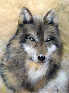 """Купить Картина из шерсти """"Волк"""" - комбинированный, картина в подарок, картина из шерсти, игра престолов, волк"""