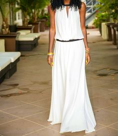 White dropped waist maxi dress